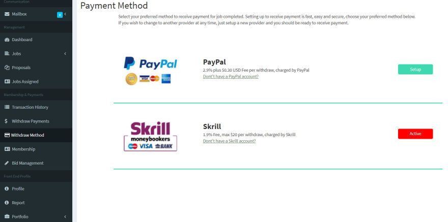Setup payment withdraw